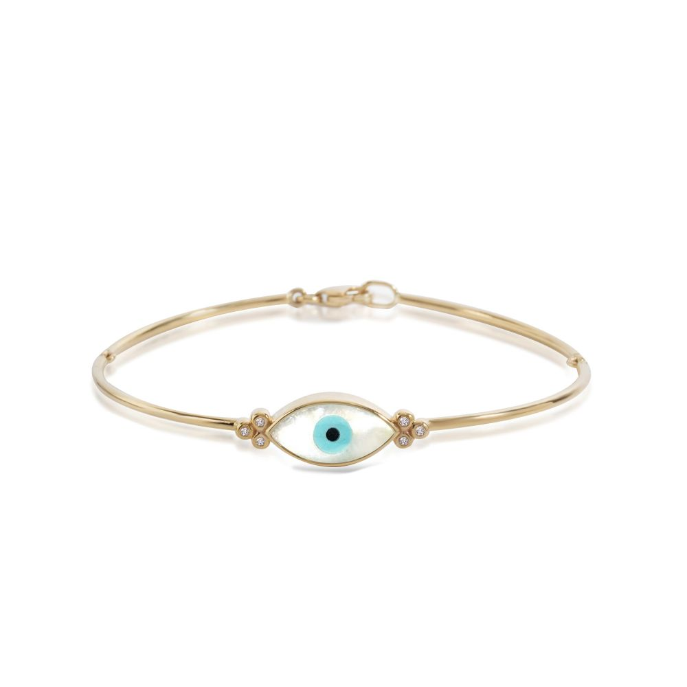 London Collection 14k Yellow Gold Evil Eye Bracelet With White And 6 Diamonds