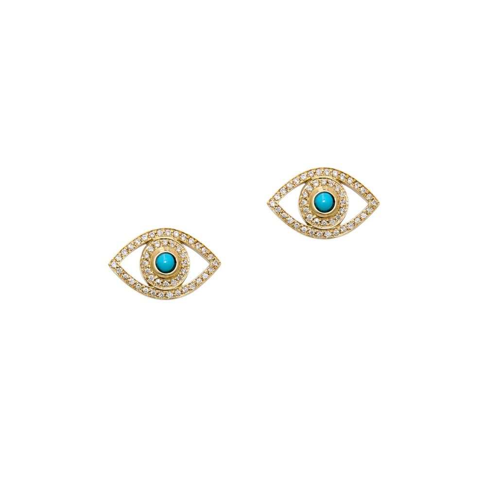Netali Nissim 18k Diamond And Turquoise Evil Eye Stud Earrings