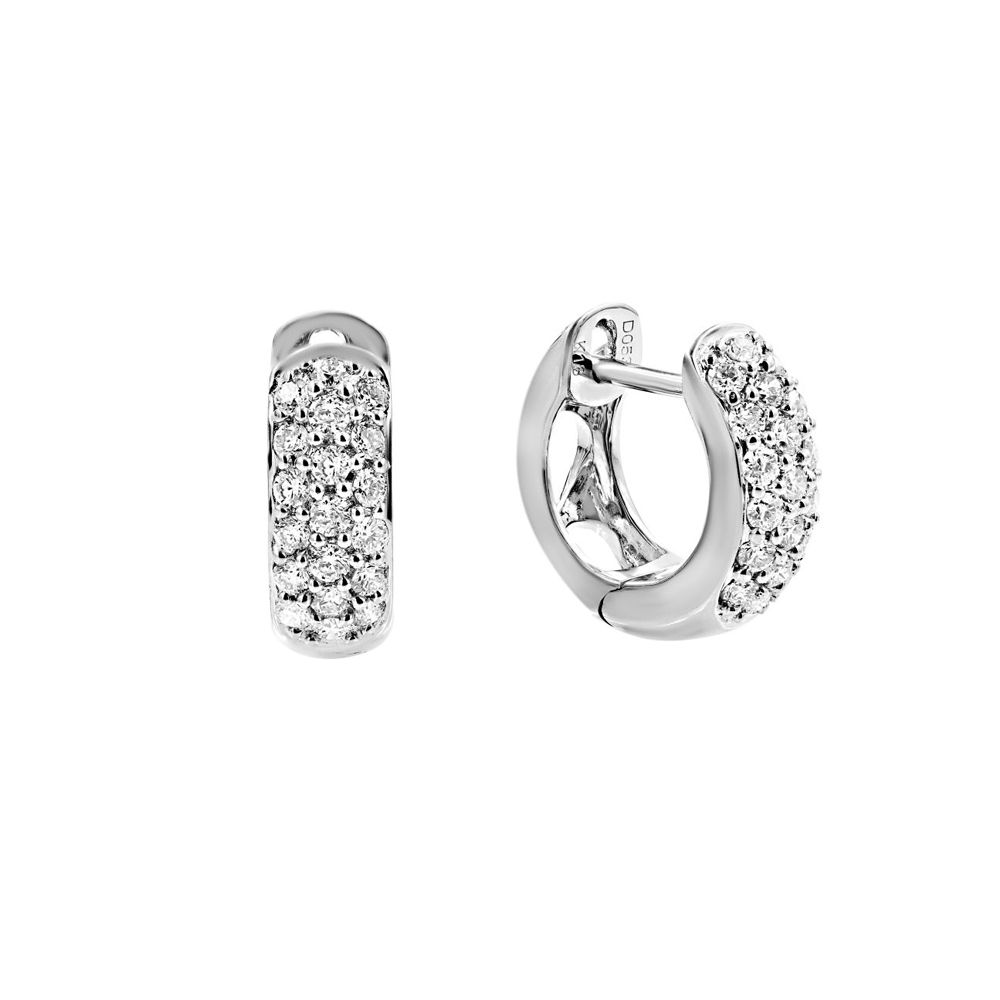 London Collection White Gold 3 Row Diamond Huggie Earrings