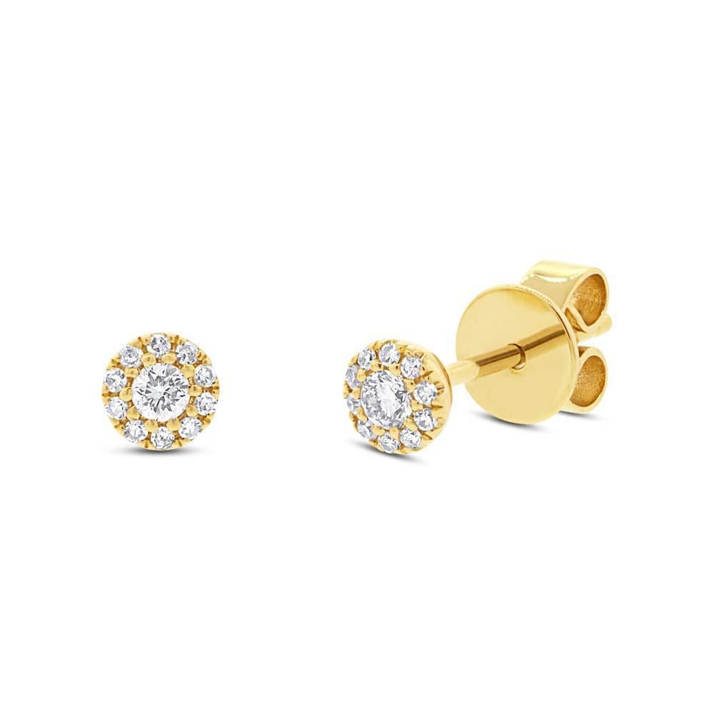 London Collection Diamond Halo Cluster 14k Yellow Gold Small Stud Earrings