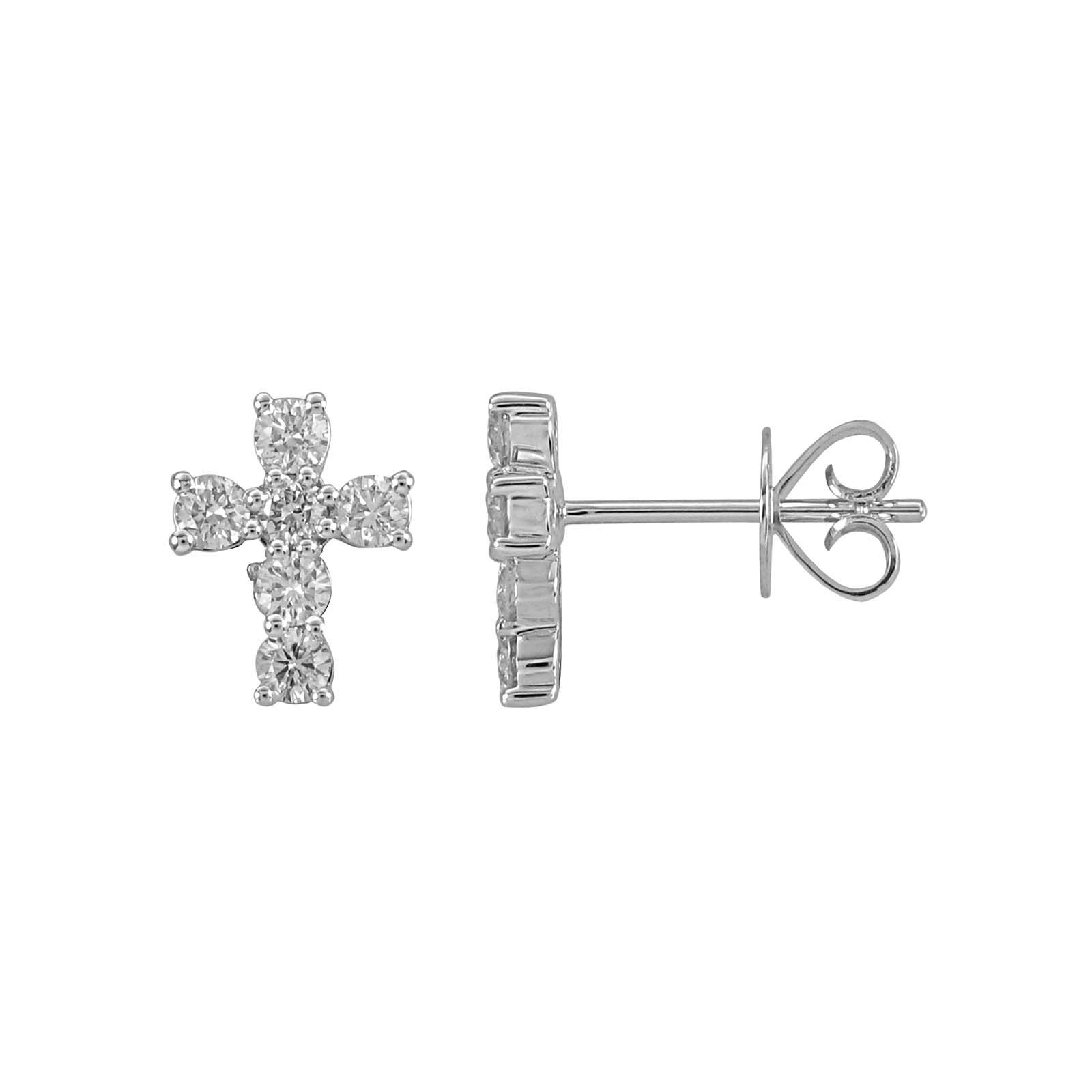 London Collection White Gold Diamond Cross Earrings