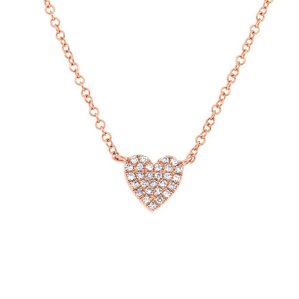London Collection 14k Rose Gold Small Diamond Heart Pendant Necklace