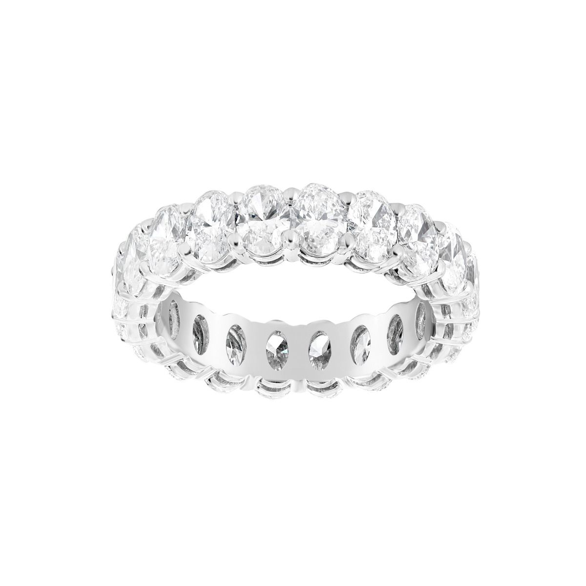 It is an image of Norman Silverman Platinum 38 Oval Diamond Eternity Wedding Band