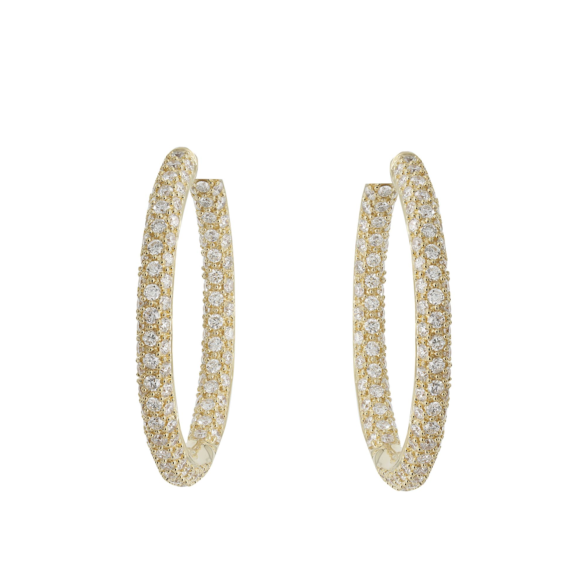 London Collection 18k Yellow Gold Pave Diamond Hoop Earrings With 3 96cts