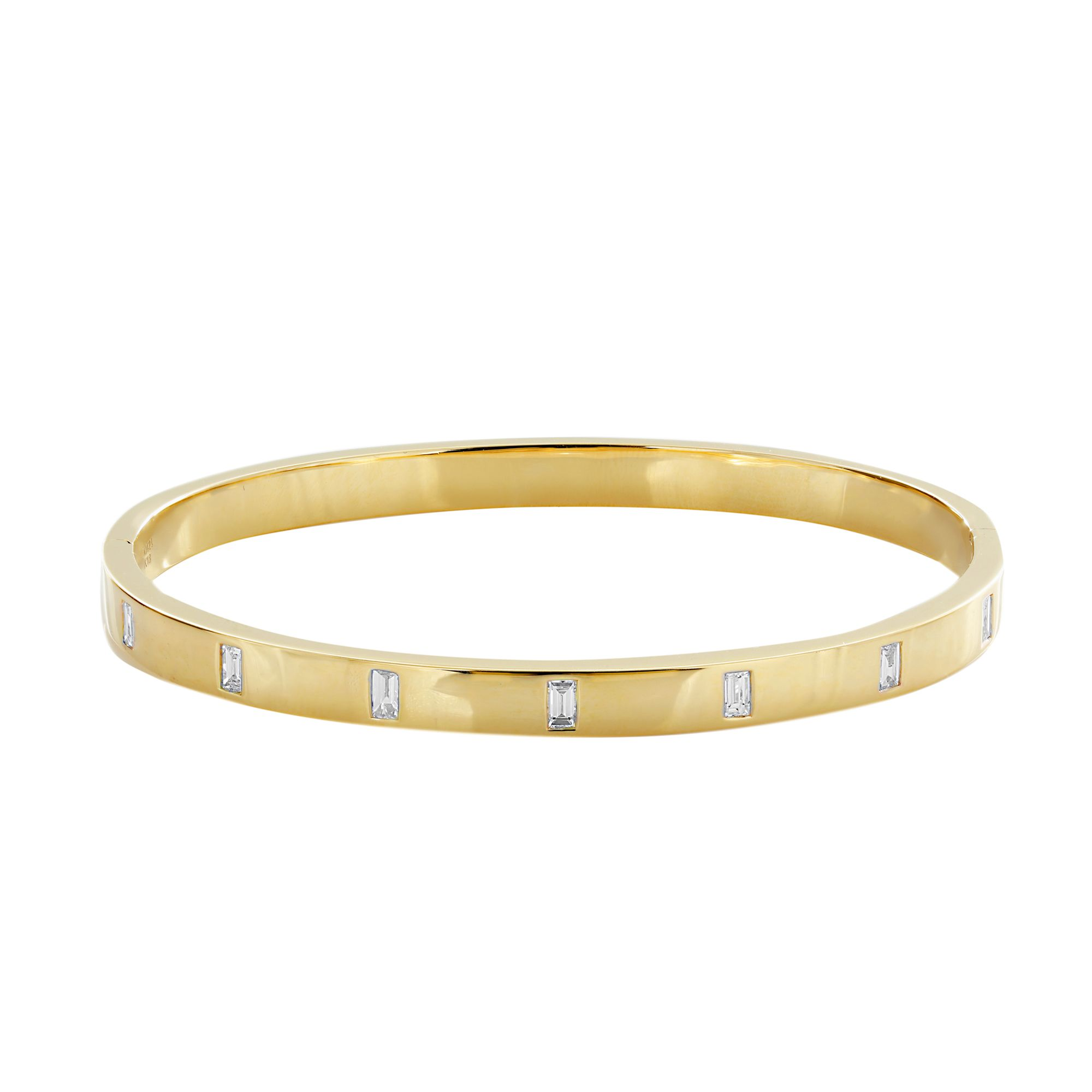 London Collection Baguette 18k Yellow Gold Diamond Bangle Bracelet