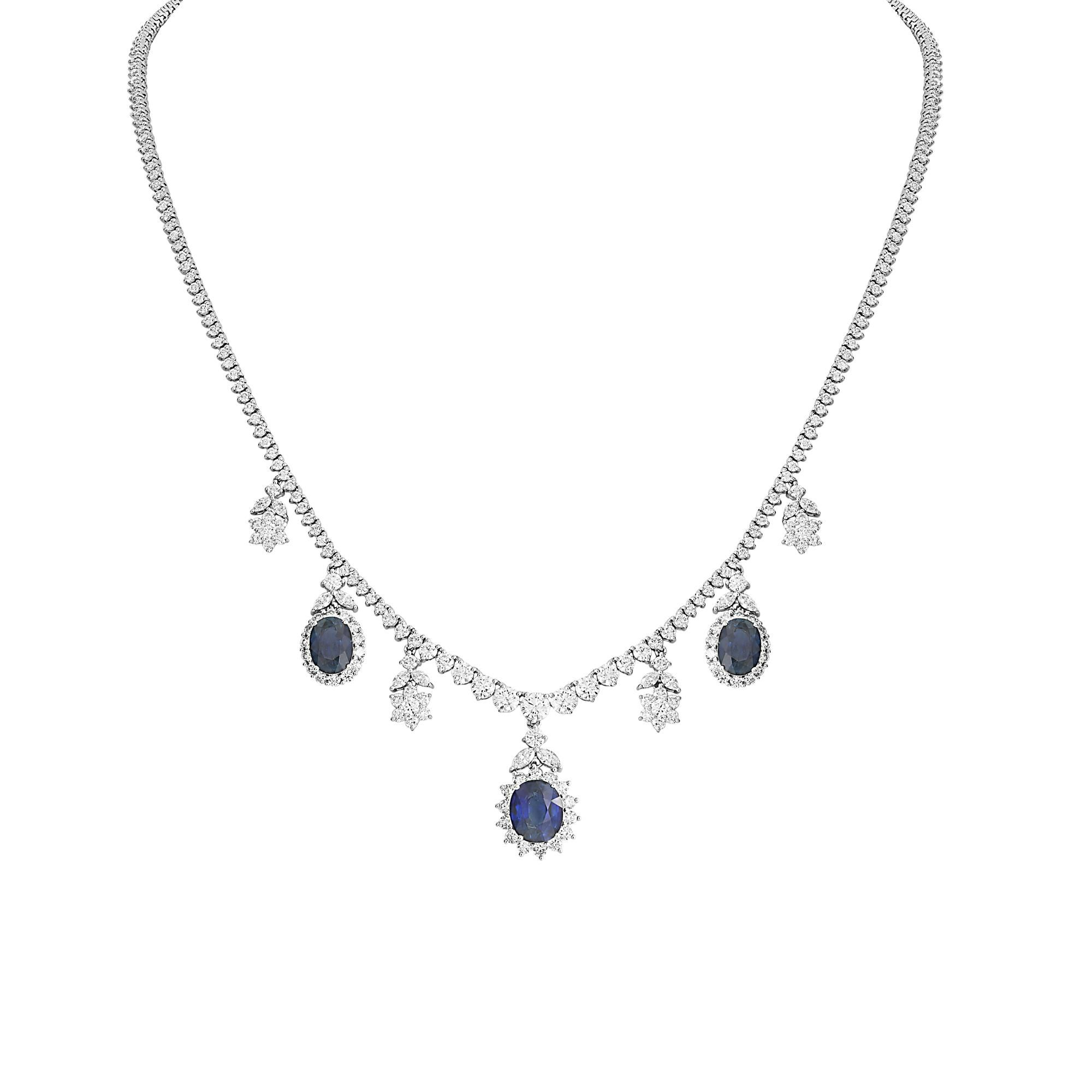 London Collection 18k White Gold 3 Oval Blue Sapphire Diamond Tennis Necklace