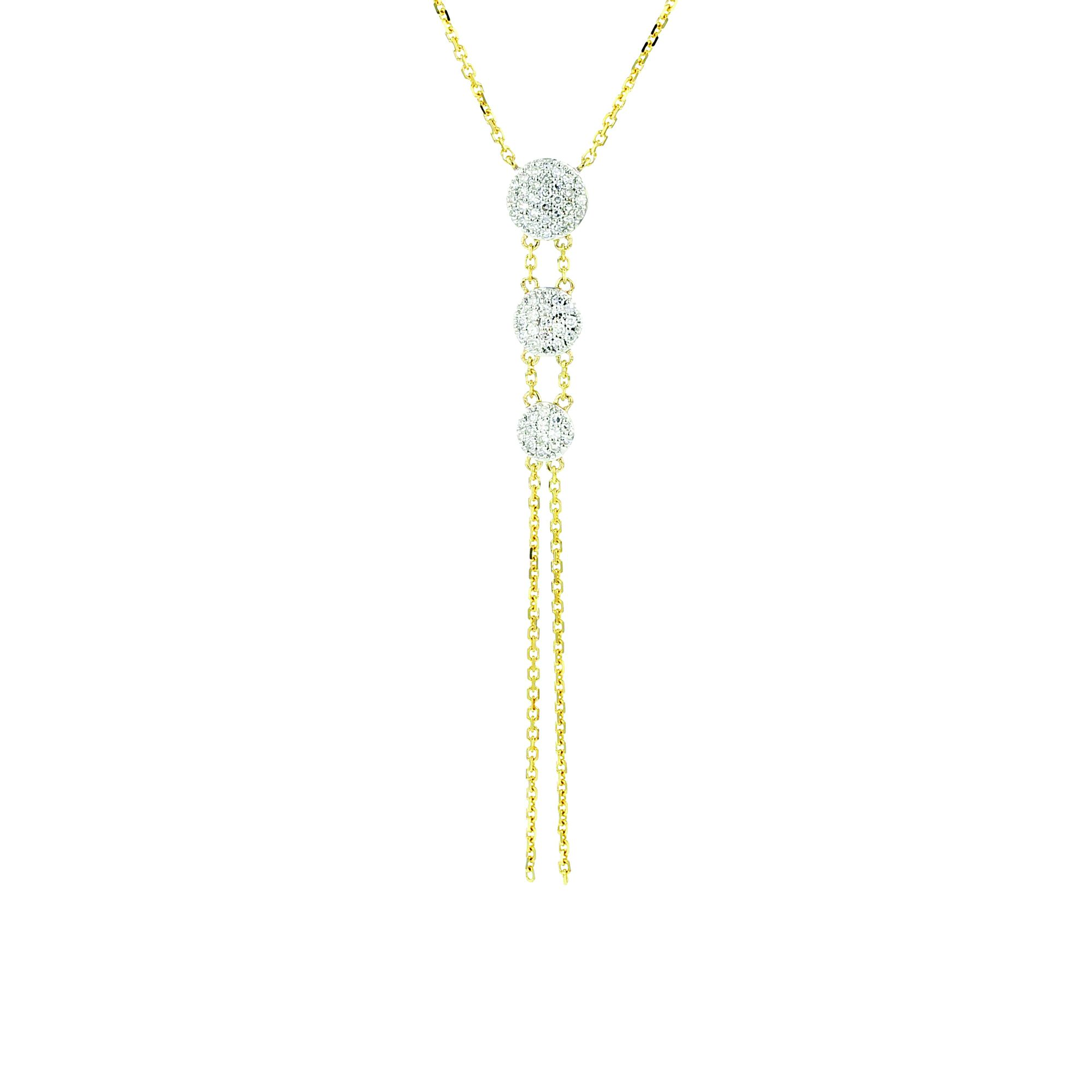 14k White Gold Triple Infinity Necklace with Diamonds