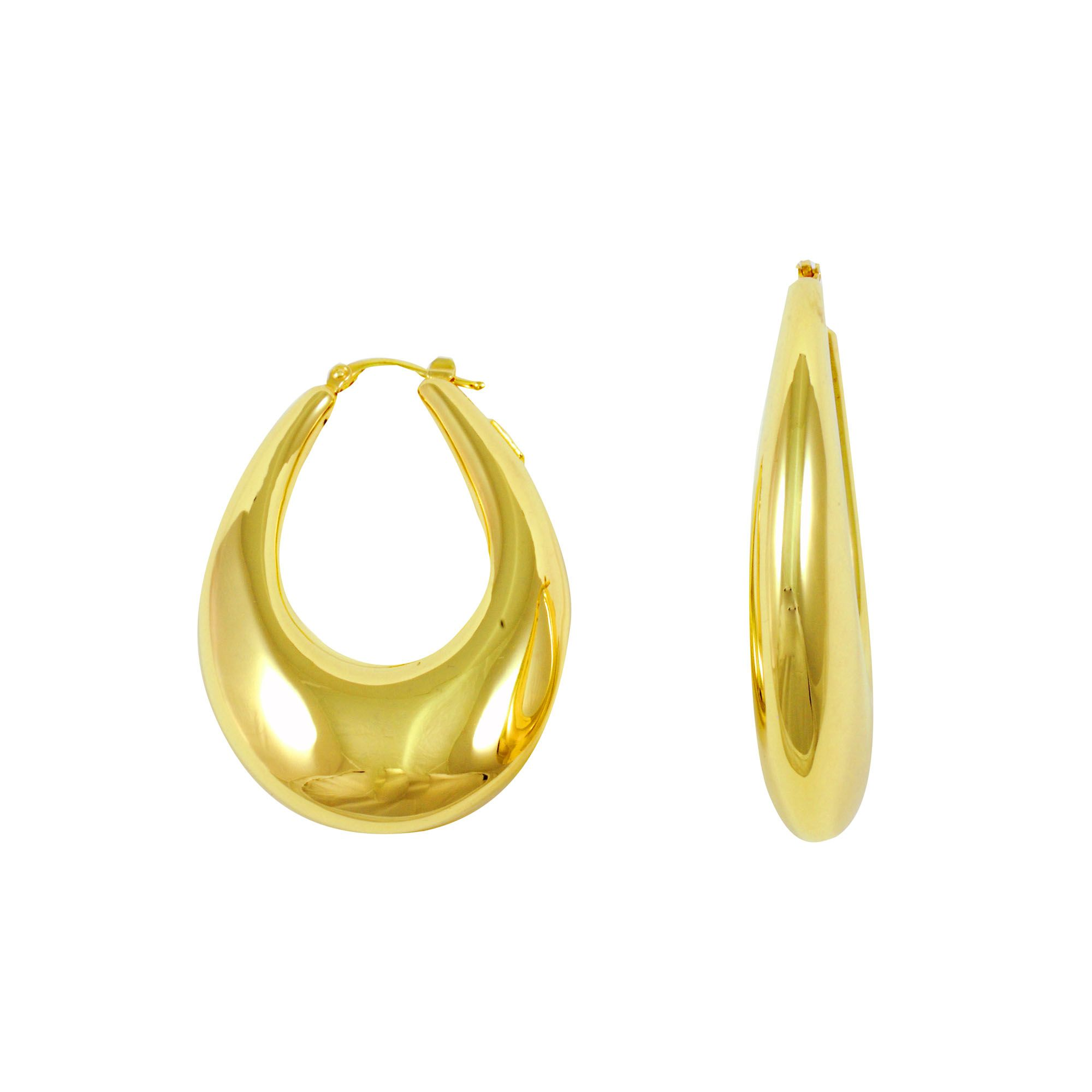 acc67263afeec London Collection 14k Yellow Gold Graduated Oval Hoop Earrings