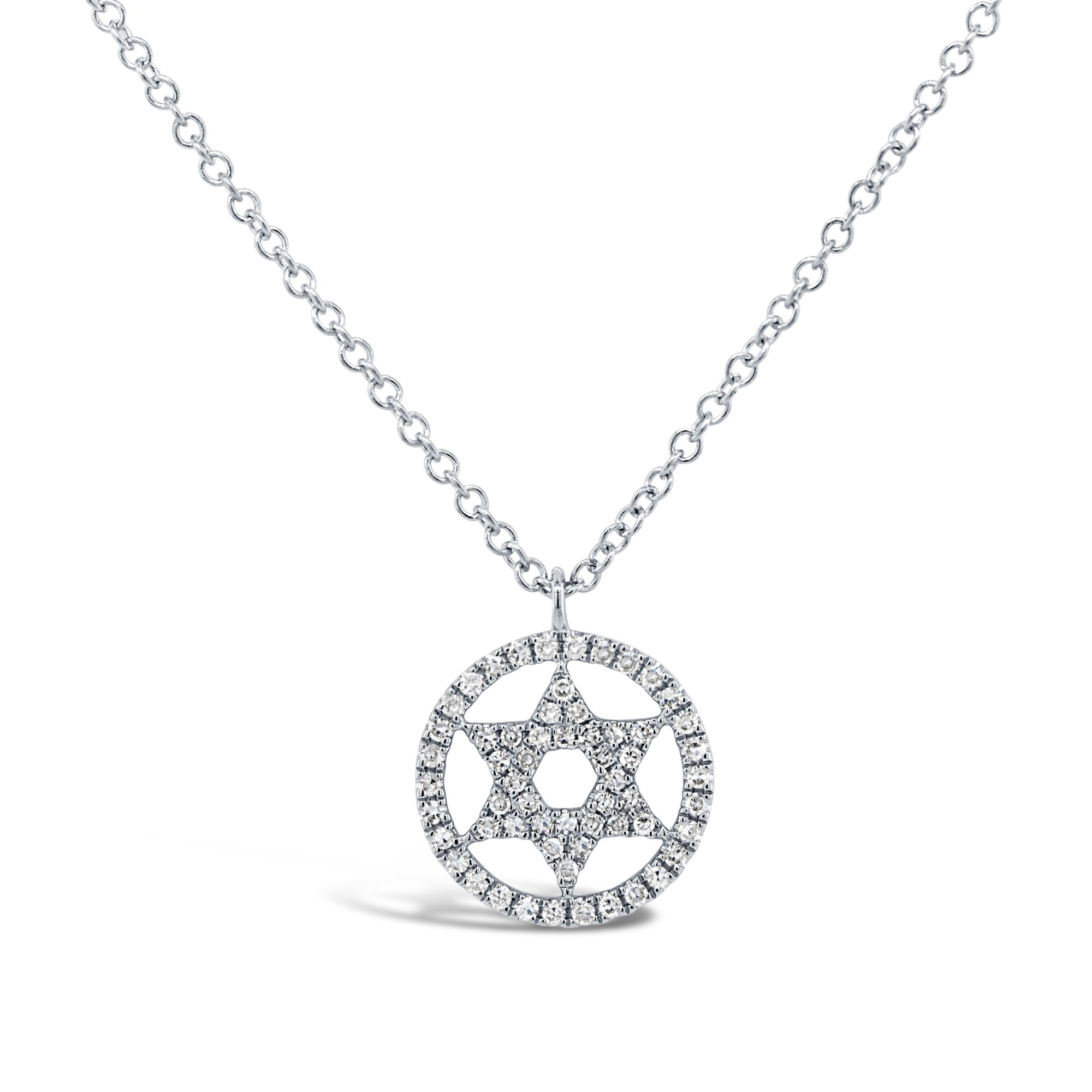 bc62a920864dc London Collection 14k Gold Diamond Pave Star of David Halo Pendant Necklace