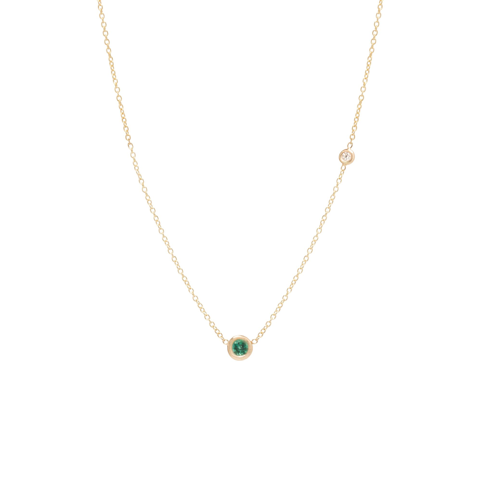 Zoe Chicco 14k Yellow Gold Emerald And Offset Diamond Necklace