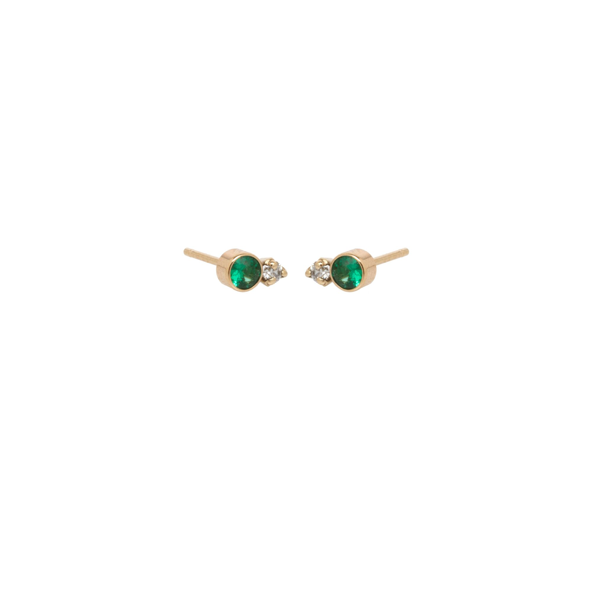 Zoe Chicco 14k Yellow Gold Bezel Set Emerald And Prong Set Diamond