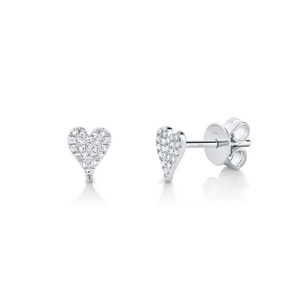 London Collection 14k White Gold Pave Diamond Heart Stud Earrings