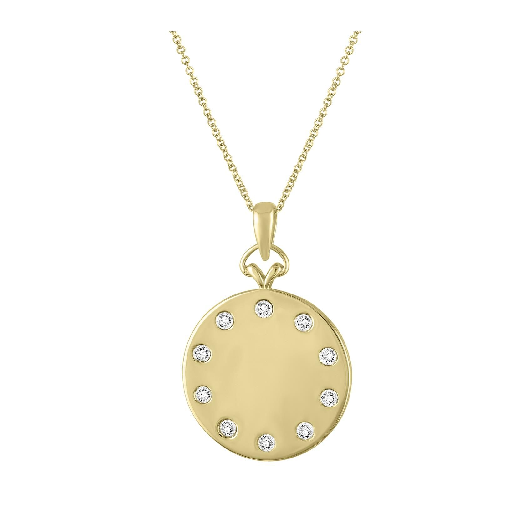 My Story 14k Yellow Gold Diamond Round Pendant Necklace