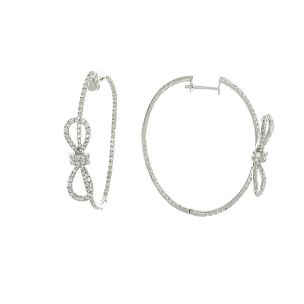 5c439df9a8cf7 London Collection White Gold Thin Bow Tie Hoop Earrings