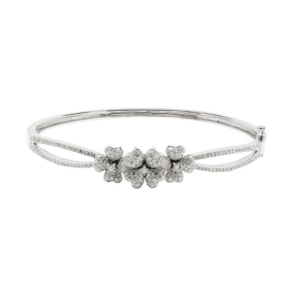 ae22054501ce7 London Collection 18k White Gold Three Flower Pave Diamond Bangle Bracelet