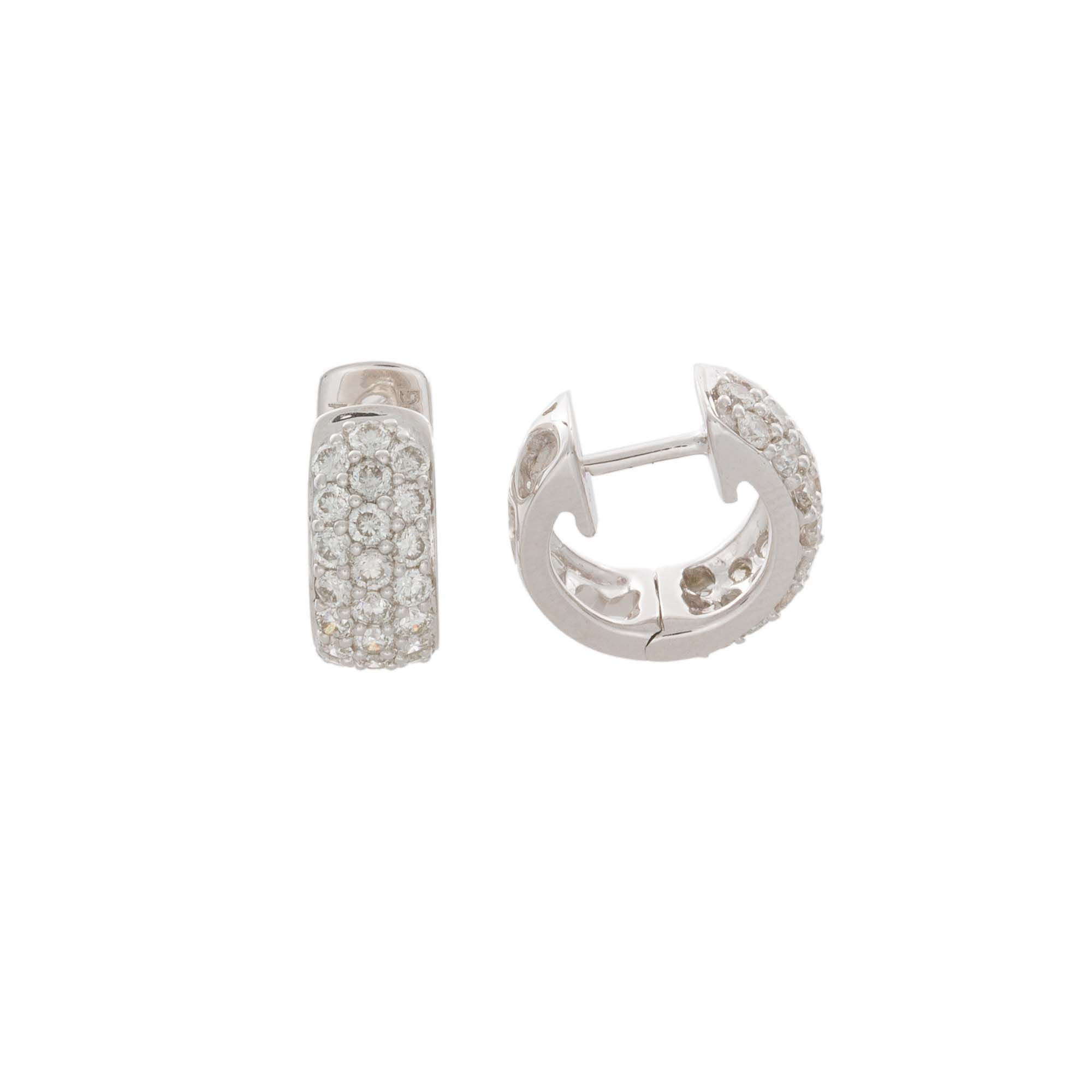 37943465ba06a London Collection 18k White Gold Pave diamond Huggie Earrings