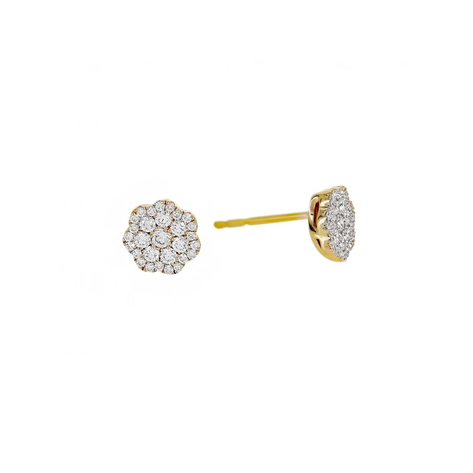 London Collection Yellow Gold Flower Diamond Cer Stud Earrings