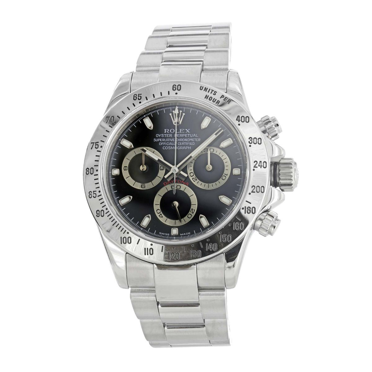 Pre,Owned Rolex Cosmograph Daytona Stainless Steel Black Dial 116520