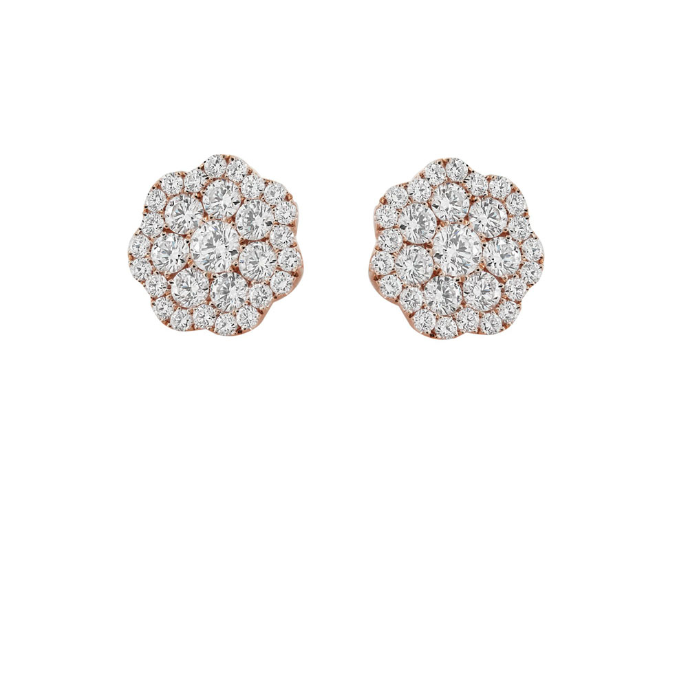 jewelry_London Collection Rose Gold Flower Diamond Cluster Stud Earrings