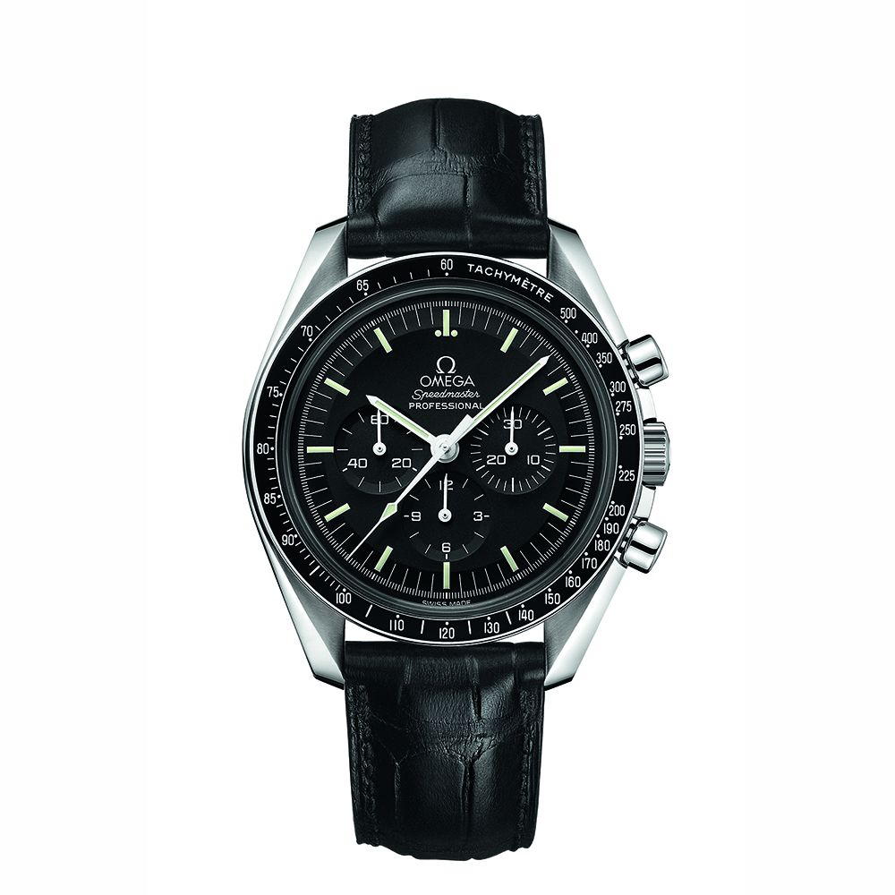 alt:text Omega Black Speedmaster Moonwatch Professional Chronograph