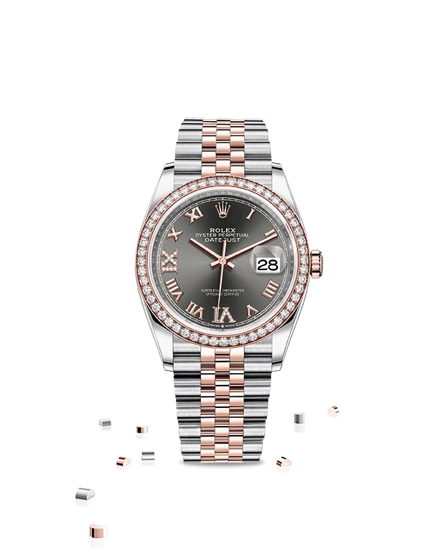 DATEJUST 36 Oyster, 36 mm, Oystersteel, Everose gold and diamonds