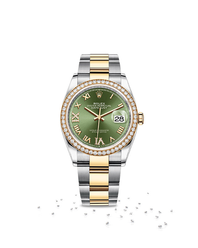 DATEJUST 36 Oyster, 36 mm, Oystersteel, yellow gold and diamonds